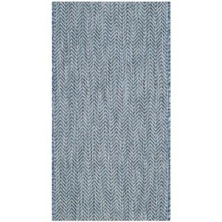 Safavieh Indoor/ Outdoor Courtyard Navy/ Grey Rug (2' 7 x 5')