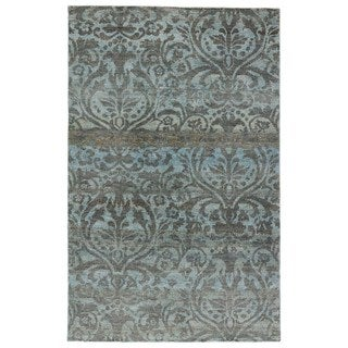 Hand-Knotted Damask Blue Area Rug (2' X 3')