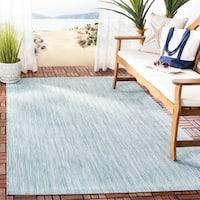 Safavieh Indoor/ Outdoor Courtyard Aqua/ Grey Rug - 2' 7 x 5'