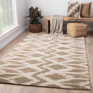 National Geographic Modern Tribal Pattern White/ Neutral Wool and Viscose Area Rug (8' x 10')