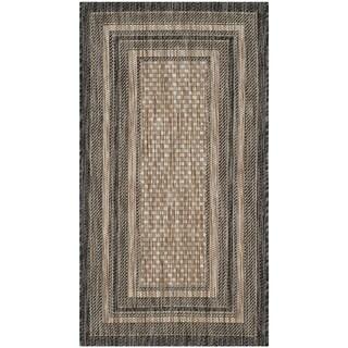 Safavieh Indoor/ Outdoor Courtyard Natural/ Black Rug (2'7 x 5')