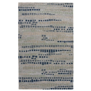 Modern Abstract Pattern White/ Grey Wool and Viscose Area Rug (8' x 10')