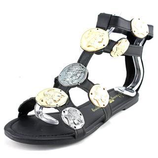 Penny Loves Kenny Women's Trojan Black Faux Leather Sandals