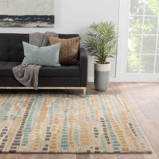 National Geographic Modern Abstract Pattern Blue/ Grey Wool and Viscose Area Rug (8' x 10')