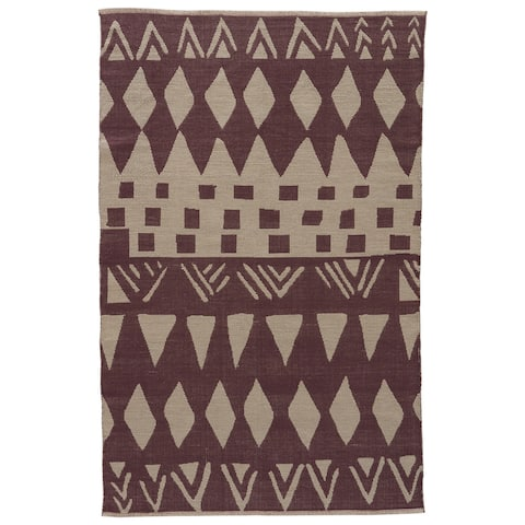 Sojourner Handmade Geometric Purple/ Gray Area Rug (8' X 11') - 8' x 11'