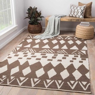 National Geographic Contemporary Tribal Pattern Brown/ Neutral Cotton Area Rug (8' x 11')