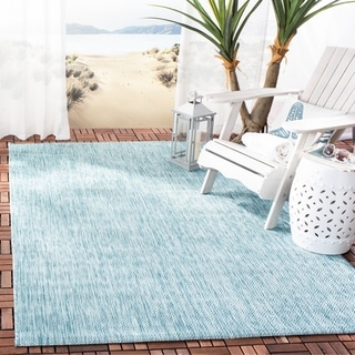 Safavieh Indoor/ Outdoor Courtyard Aqua/ Aqua Rug (2' 7 x 5')