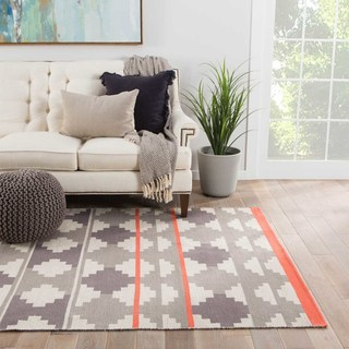 Contemporary Tribal Pattern Grey/ Pink Cotton Area Rug (8' x 11')