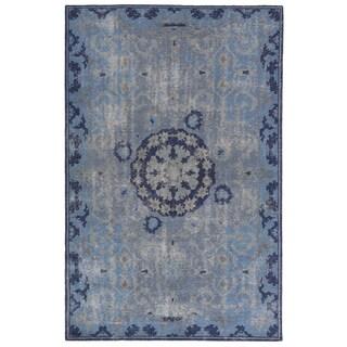 Classic Oriental Pattern Blue/ Grey Wool Area Rug (9' x 13')
