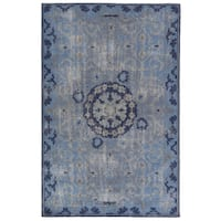 Hand-Knotted Oriental Blue Area Rug (9' X 13') - 9' x 13'