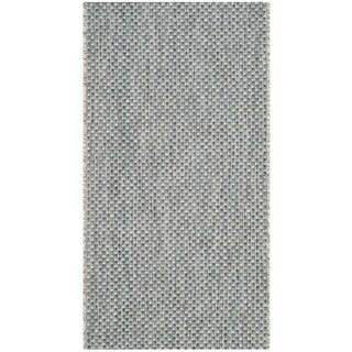 Safavieh Indoor/ Outdoor Courtyard Grey/ Navy Rug (2' 7 x 5')