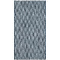 Safavieh Indoor/ Outdoor Courtyard Navy/ Grey Rug - 2'7 x 5'