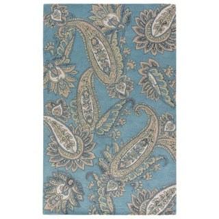 Contemporary Paisley Pattern Blue/ Yellow Wool Area Rug (8' x 11')