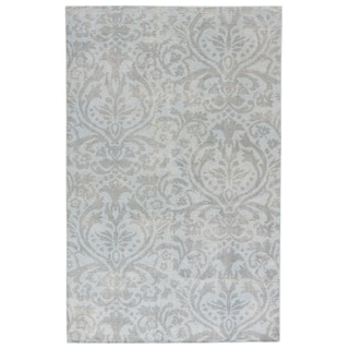 Classic Damask Pattern Grey/ Neutral Wool Area Rug (8' x 11')