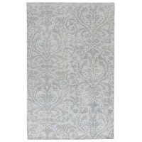 Hand-Knotted Damask Gray/ Silver Area Rug (8' X 11') - 8' x 11'