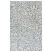 Hand-Knotted Damask Gray/ Silver Area Rug - 8' x 11'