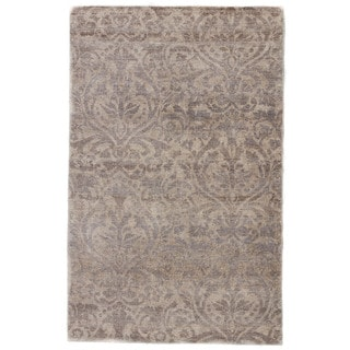 Hand-Knotted Damask Neutral Area Rug (9' X 13')