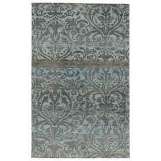 Naturals Damask Pattern Blue/ Grey Hemp Area Rug (9' x 13')