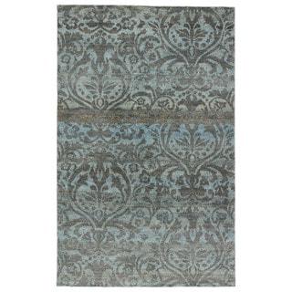 Naturals Damask Pattern Blue/ Grey Hemp Area Rug (8' x 11')