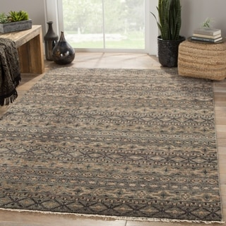 Modern Tribal Pattern Blue/ Neutral Wool and Viscose Area Rug (5' x 8')
