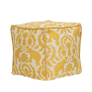 Babar Topaz Cream and Yellow Polyester 17-inch Magnum Corded Zippered Hassock