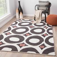 Izara Handmade Dots White/ Black Area Rug (5' X 8') - 5'x8'