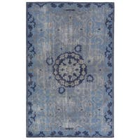 Hand-Knotted Oriental Blue Area Rug (5' X 8') - 5' x 8'