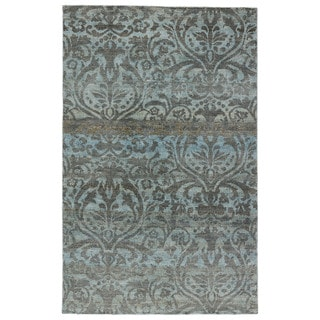 Hand-Knotted Damask Blue Area Rug (5' X 8')