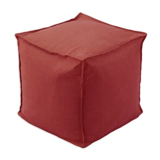 Circa Solid Lava Red Linen 12.5-inch Square Seamed Footstool