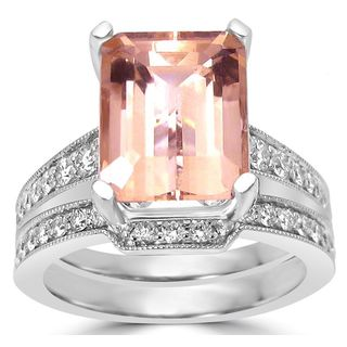Noori 14k White Gold 3 1/2 TGW Emerald-cut Morganite with Diamond Accent Engagement Ring Bridal Set (SI1/SI2 G/H)
