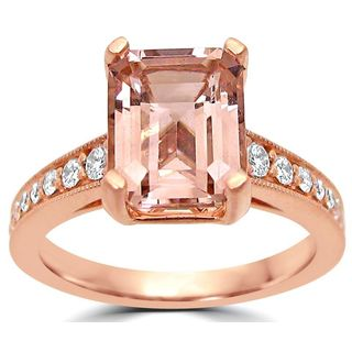 Noori 14k Rose Gold SI1/SI2 G/H Emerald-cut Morganite Diamond Engagement Ring