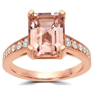 Noori 14k Rose Gold SI1/SI2 G/H Emerald-cut Morganite Diamond Engagement Ring