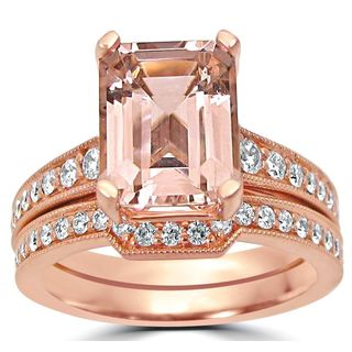Noori 14k Rose Gold Emerald-cut Morganite Diamond Engagement Ring Bridal Set