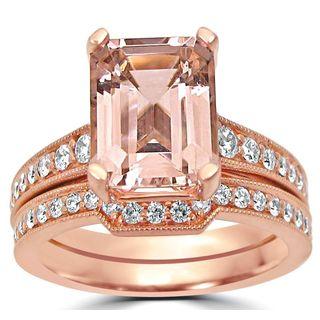 Noori 14k Rose Gold Emerald-cut Morganite Diamond Engagement Ring Bridal Set - N/A