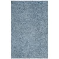 Safavieh Handmade Florence Shag Light Blue Polyester Rug - 5' x 8'