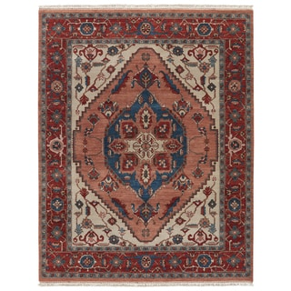 Classic Oriental Pattern Pink/ Red Wool Area Rug (8' x 10')