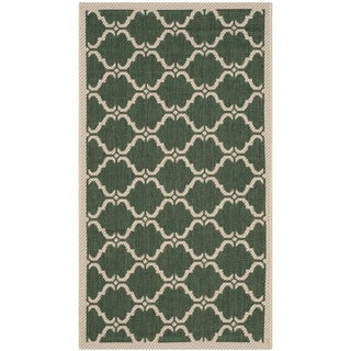 Safavieh Courtyard Moroccan Dark Green/ Beige Indoor/ Outdoor Rug (2' x 3'7)