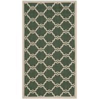Safavieh Courtyard Moroccan Dark Green/ Beige Indoor/ Outdoor Rug - 2' x 3'7