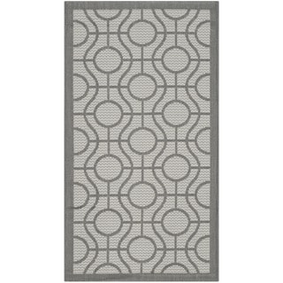 Safavieh Courtyard Modern Ogee Light Grey/ Anthracite Indoor/ Outdoor Rug (2' x 3'7)