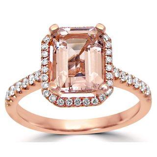 Noori 14-karat Rose Gold SI1/SI2 G/H Emerald-cut Morganite Halo Diamond Engagement Ring