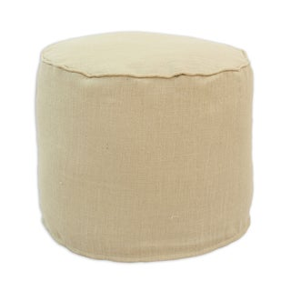bpr2c3073 Natural Tan Burlap 12.5-inch Round x 12.5-inch High Corded Beads Hassock