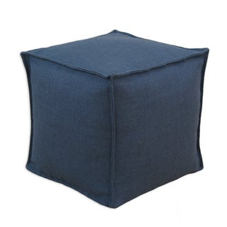 Burlap Navy 12.5-inch Square Footstool