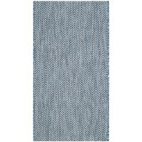 Safavieh Indoor/ Outdoor Courtyard Navy/ Grey Rug (2' x 3' 7)