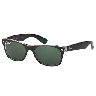 Ray Ban Unisex RB 2132 New Wayfarer 605258 Top Black On Transparent/Green Plastic Sunglasses