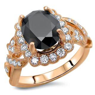 Noori Certified 14k Rose Gold 2 3/4ct TDW Oval Black Diamond Engagement Ring (F-G, SI1-SI2)