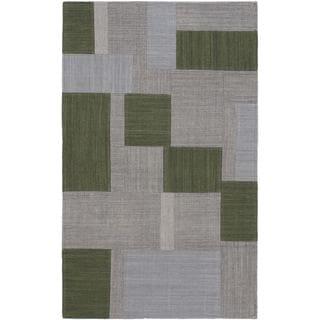 ecarpetgallery Mosaico Grey/Green Hand-woven Wool Kilim (2'6 x 3'11)