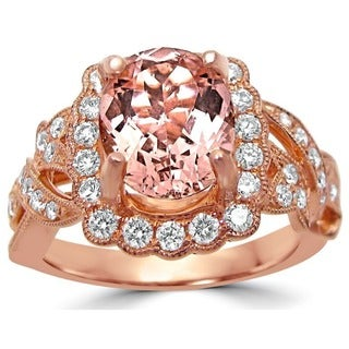 Noori 14k Rose Gold 2 1/6 ct TGW Oval Morganite Diamond Engagement Ring (F-G, SI1-SI2)