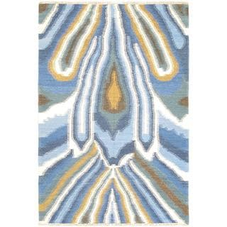 ecarpetgallery Blue Ankara Hand-woven Wool Kilim (4'7 x 6'9)