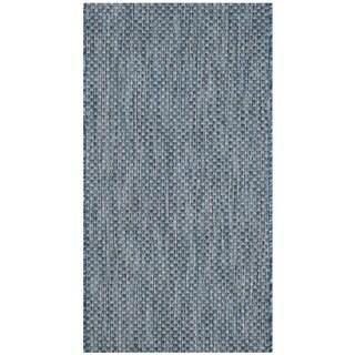 Safavieh Indoor/ Outdoor Courtyard Navy/ Grey Rug (2' x 3' 7)
