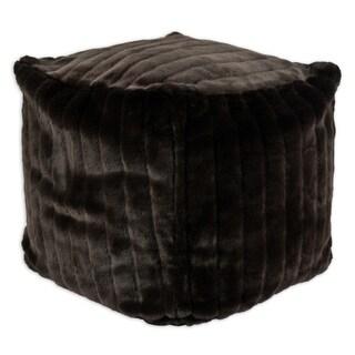 KE Auden Brown Faux Fur 12.5-inch Square Bead-stuffed Footstool